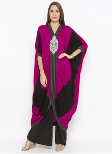 Designer Kurti Weaving Georgette in Black