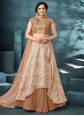 Designer Lehenga Choli Embroidered Jacquard in Beige