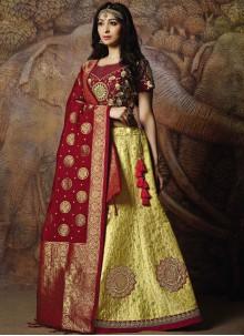 Designer Lehenga Choli Embroidered Jacquard Silk in Yellow