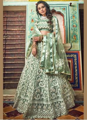 Designer Lehenga Choli Embroidered Net in Green