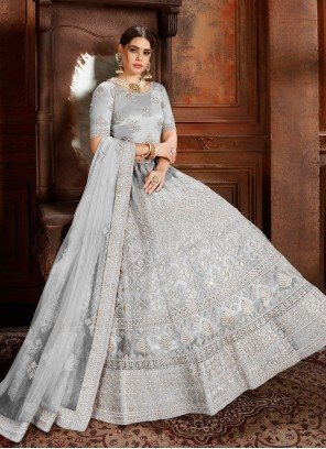 Designer Lehenga Choli Embroidered Net in Grey