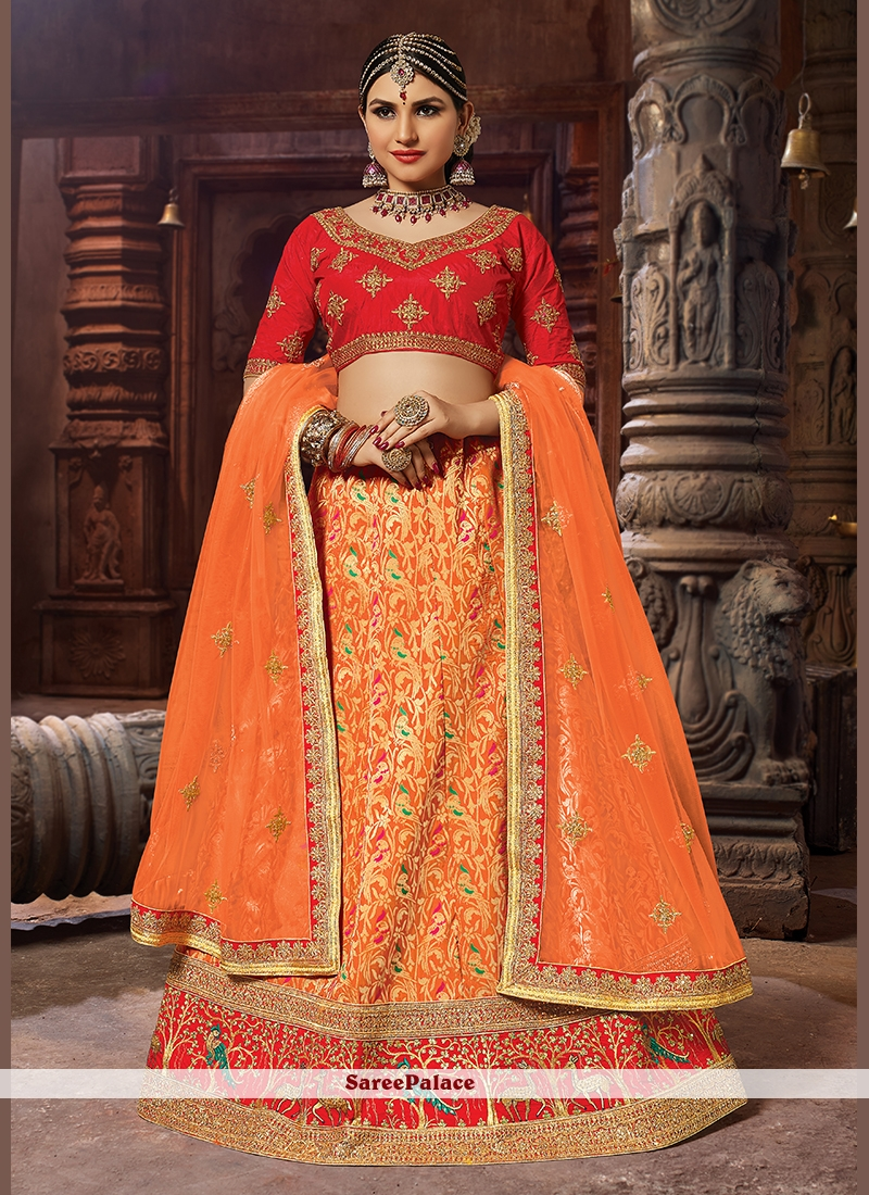 c2a55ef84c Buy Designer Lehenga Choli Patch Border Banarasi Silk in Orange Online