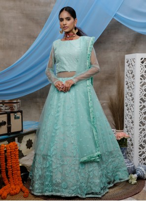 Designer Lehenga Choli Resham Net in Green