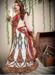 Designer Lehenga Choli Resham Net in Off White
