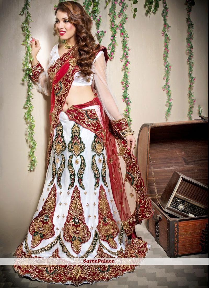 Designer Lehenga Choli Resham Net in Off White