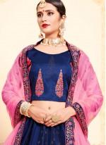 Designer Lehenga Choli Swarovski Satin in Navy Blue