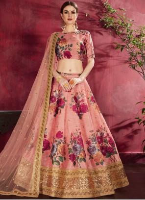 Designer Lehenga Choli Zari Banglori Silk in Peach