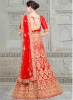 Designer Lehenga Choli Zari Satin in Red
