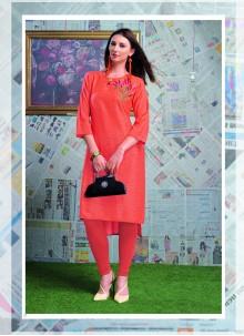 Designer Orange Rayon Party Wear Kurti