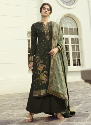 Designer Pakistani Salwar Suit Embroidered Fancy Fabric in Green