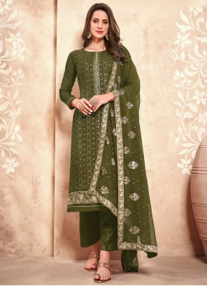 Designer Pakistani Salwar Suit Embroidered Faux Georgette in Green