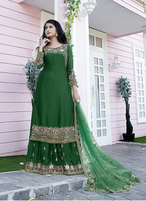 Designer Pakistani Salwar Suit Embroidered Satin in Green