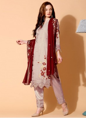 Grey Designer Pakistani Salwar Suit For Ceremonial