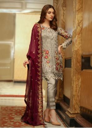 Designer Pakistani Grey Salwar Suit For Festival