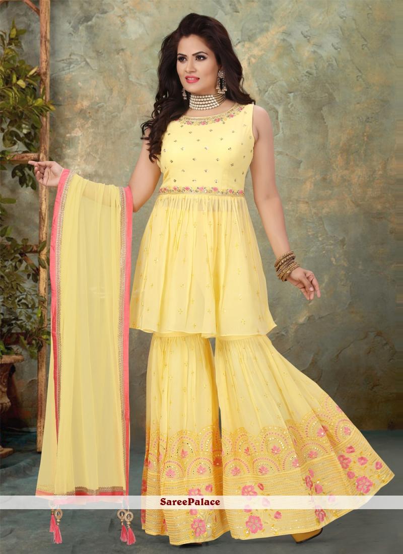 Yellow Designer Pakistani Salwar Suit For Sangeet