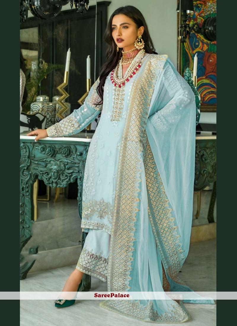 Designer Pakistani Salwar Suit Resham Faux Georgette in Blue