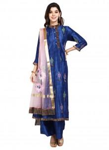 Designer Pakistani Salwar Suit Thread Art Silk in Blue