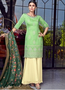 Designer Pakistani Suit Embroidered Chanderi in Green