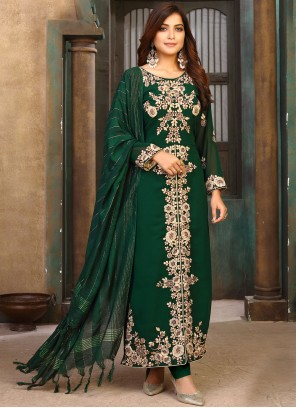 Designer Pakistani Suit Embroidered Faux Georgette in Green