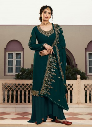 Designer Pakistani Suit Embroidered Faux Georgette in Rama