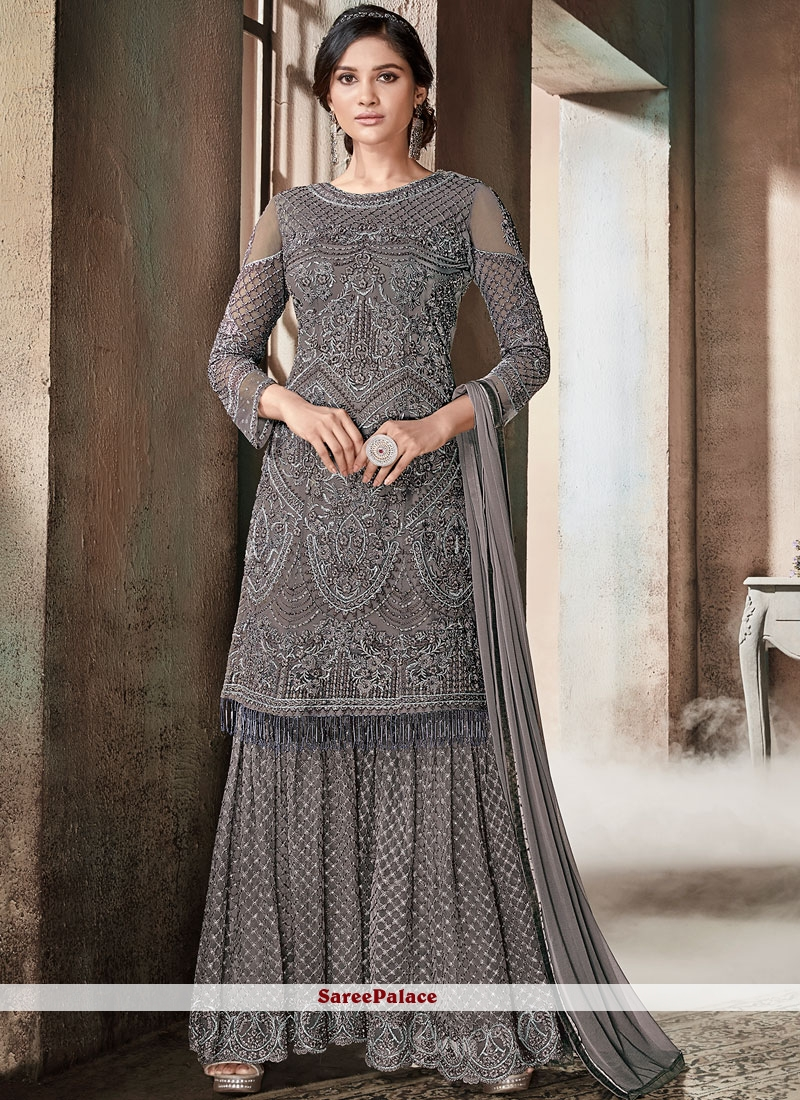 153a3874ef Buy Designer Pakistani Suit Embroidered Net in Grey Online