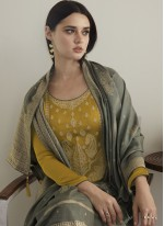 Designer Pakistani Suit Embroidered Silk in Mustard