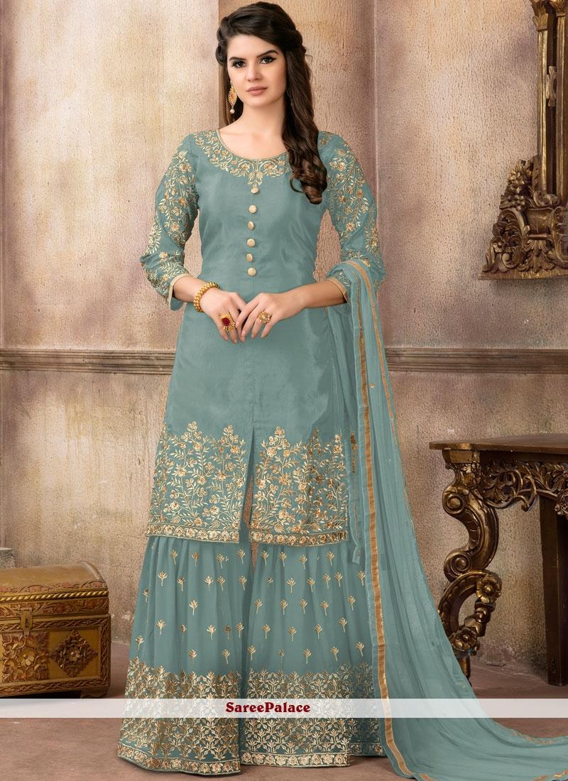 Designer Pakistani Suit Embroidered Viscose in Blue