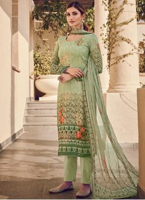 Green Designer Pakistani Suit For Ceremonial