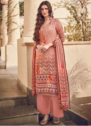 Peach Designer Pakistani Suit For Festival