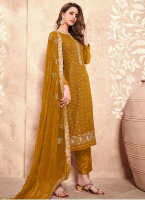 Mustard Designer Pakistani Suit For Festival