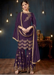 Designer Pakistani Suit Resham Faux Georgette in Purple