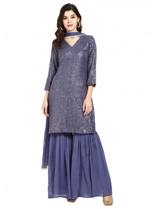 Designer Pakistani Suit Sequins Faux Georgette in Blue