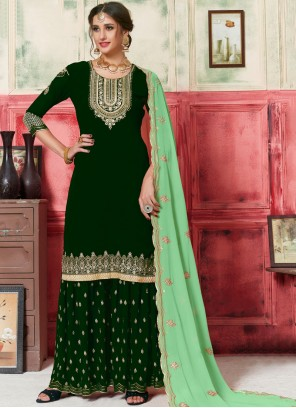 Designer Palazzo Salwar Kameez Embroidered Faux Georgette in Green