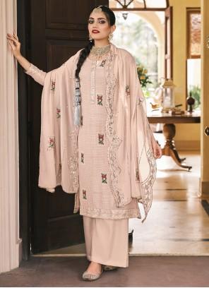 Designer Palazzo Salwar Kameez Embroidered Faux Georgette in Pink