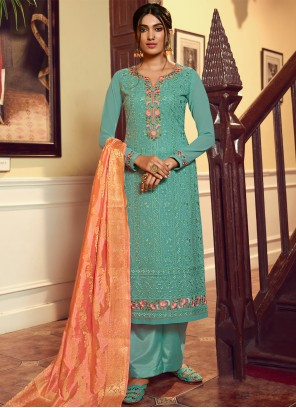 Designer Palazzo Salwar Kameez Embroidered Faux Georgette in Turquoise