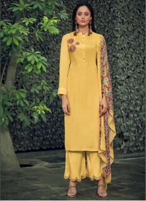Yellow Designer Palazzo Salwar Kameez For Ceremonial