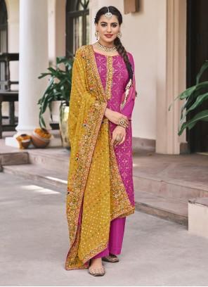 Magenta Designer Palazzo Salwar Kameez For Mehndi