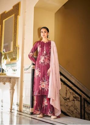 Designer Palazzo Salwar Kameez Printed Art Silk in Burgundy