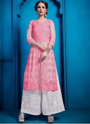 Designer Palazzo Salwar Kameez Thread Work Georgette in Pink