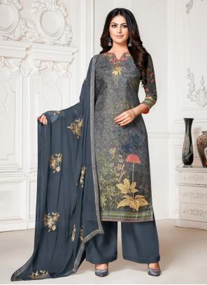 Designer Palazzo Grey Salwar Suit For Ceremonial
