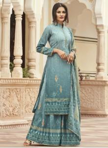 Blue Designer Palazzo Salwar Suit For Ceremonial