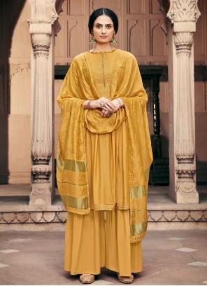 Designer Palazzo Yellow Salwar Suit For Festival