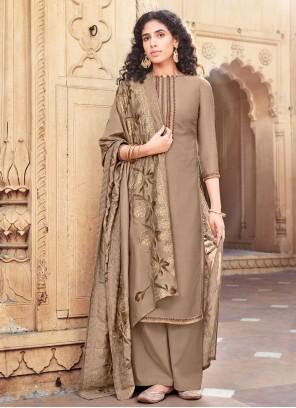 Brown Designer Palazzo Salwar Suit For Festival
