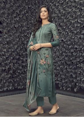 Grey Designer Palazzo Salwar Suit For Festival