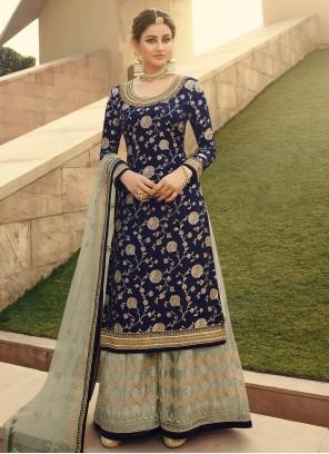 Blue Designer Palazzo Salwar Suit For Festival