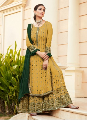 Designer Palazzo Salwar Suit Handwork Faux Georgette in Yellow
