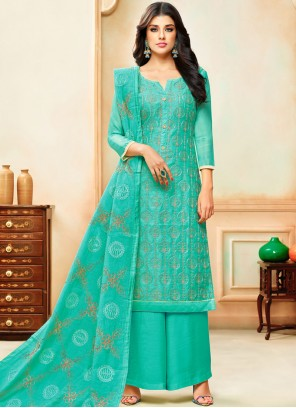 Designer Palazzo Suit Embroidered Art Silk in Sea Green