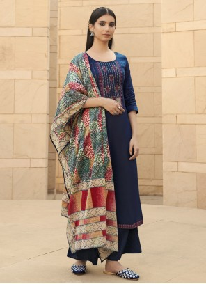 Designer Palazzo Suit Embroidered Cotton in Blue