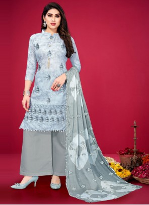 Designer Palazzo Suit Embroidered Cotton in Grey