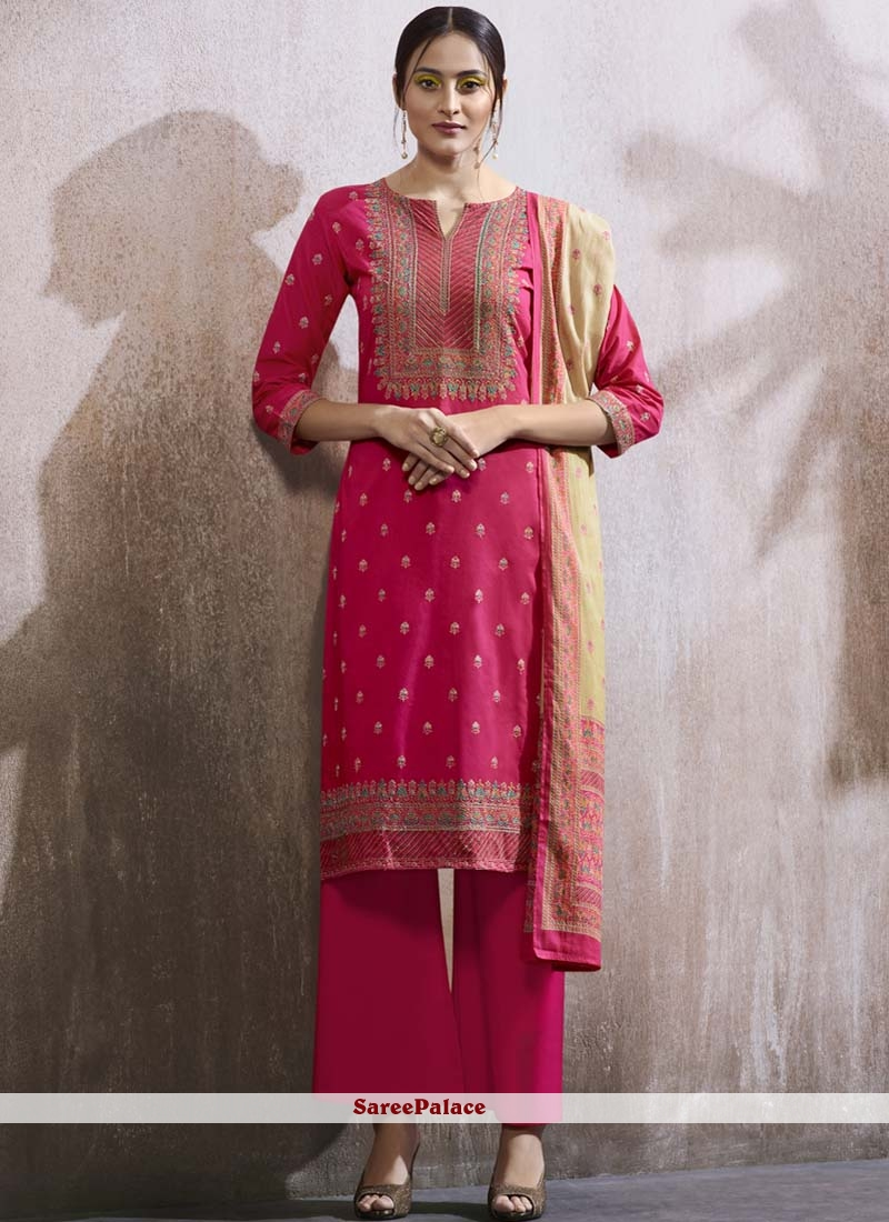 Designer Palazzo Suit Embroidered Cotton Lawn in Hot Pink